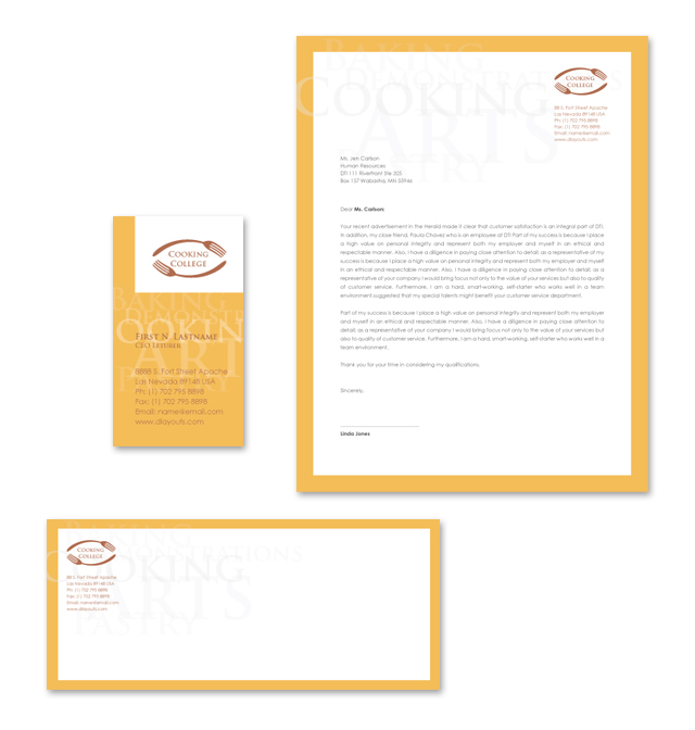 Cooking College Stationery Kits Template