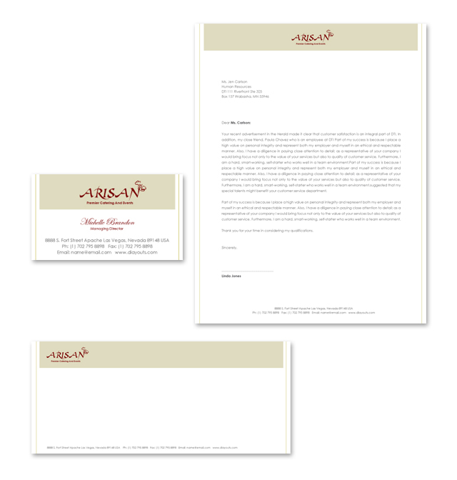 Caterer Stationery Kits Template