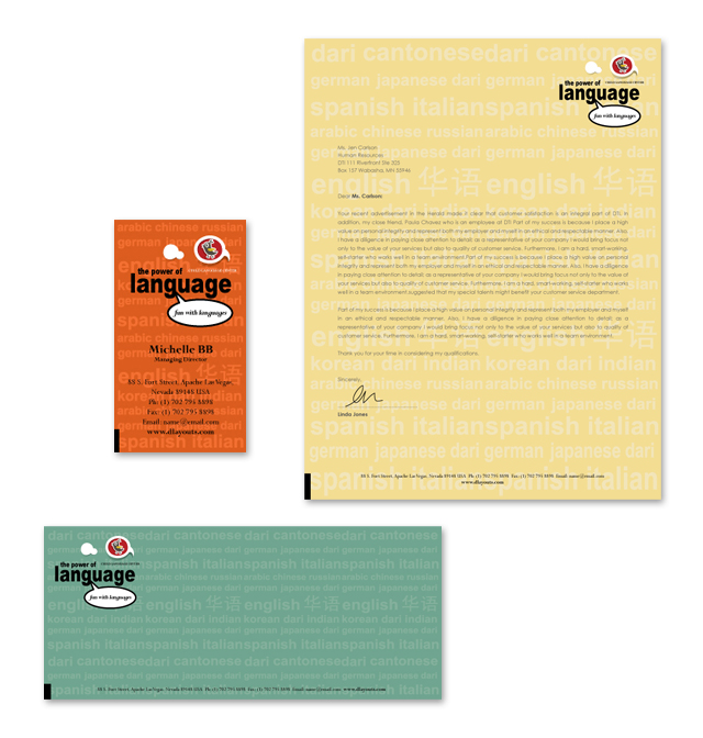 Language Learning Center Stationery Kits Template