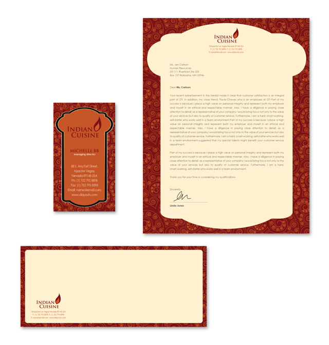 Indian Restaurant Stationery Kits Template