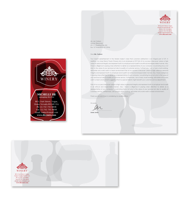 Vineyard & Winery Stationery Kits Template