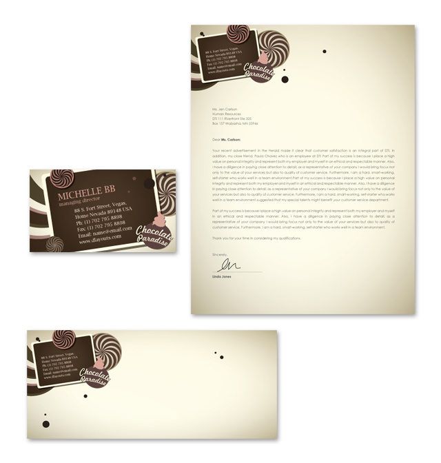 Chocolate Shop Stationery Kits Template