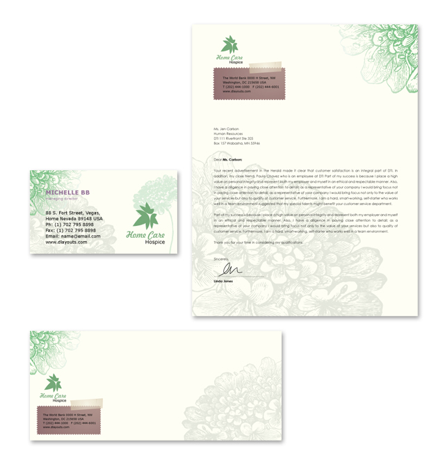 Home Care Stationery Kits Template