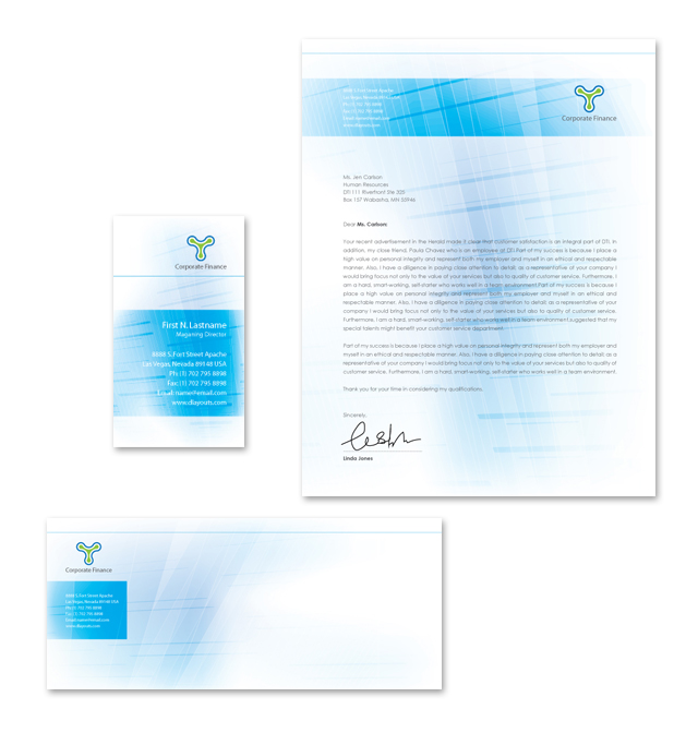 Corporate Finance Stationery Kits Template