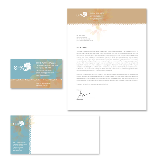 Spa Treatment Stationery Kits Template