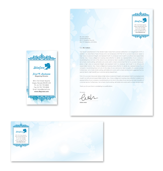 Skincare Center Stationery Kits Template