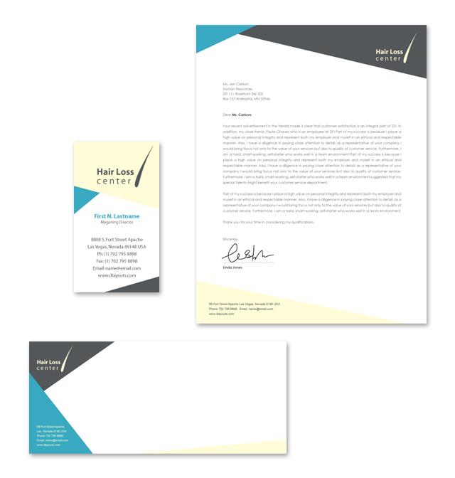 Hair Loss Center Stationery Kits Template