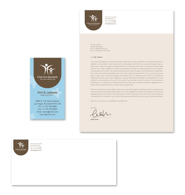 Child Care Specialists Stationery Kits Template