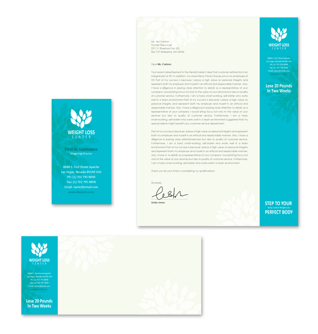 Weight Loss Center Stationery Kits Template