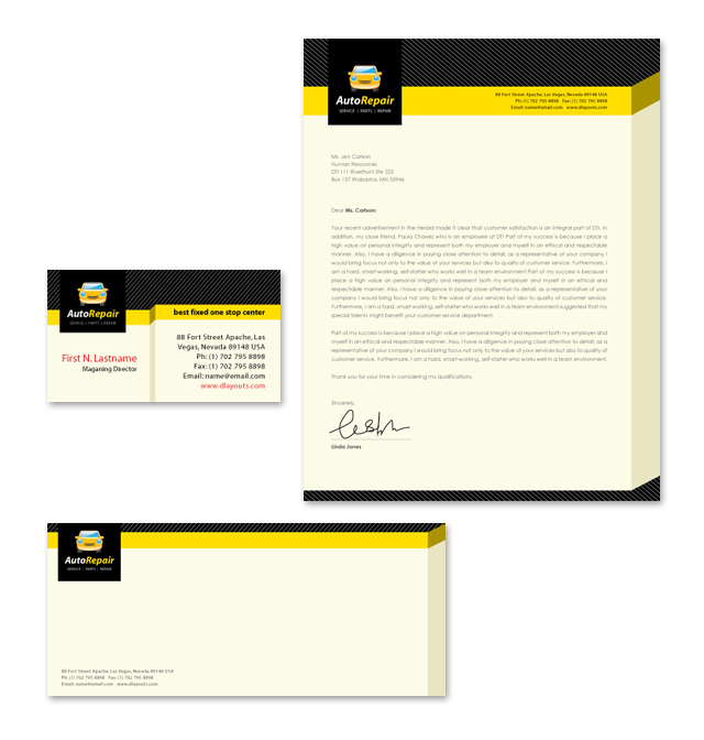 Auto Repair Services Stationery Kits Template