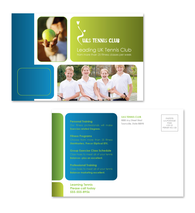 Tennis Club Postcard Template