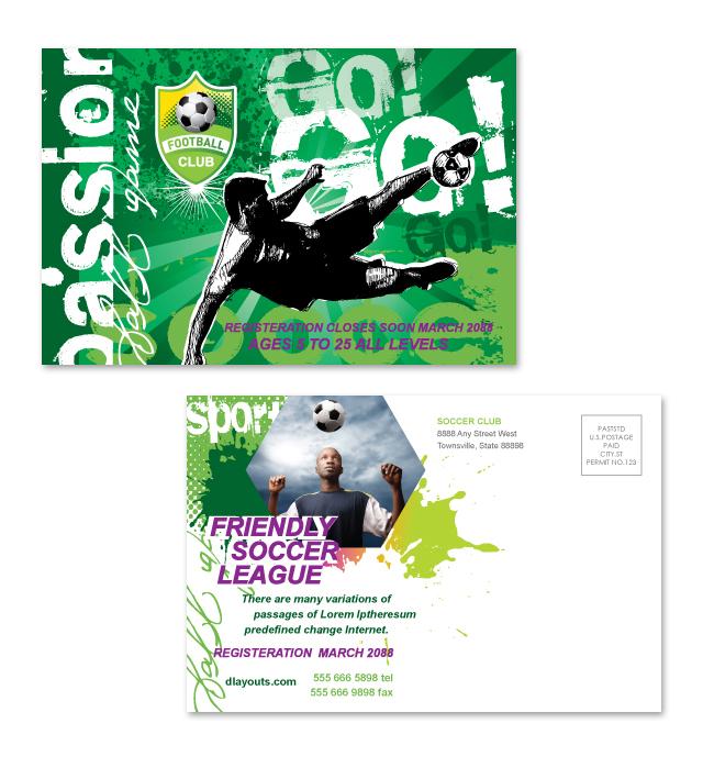 Soccer Club Postcard Template