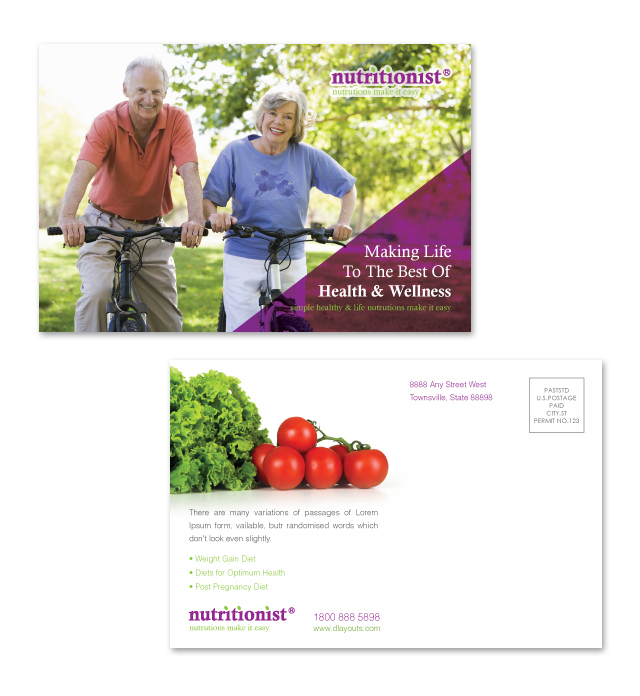 Nutritionist & Dietician Postcard Template