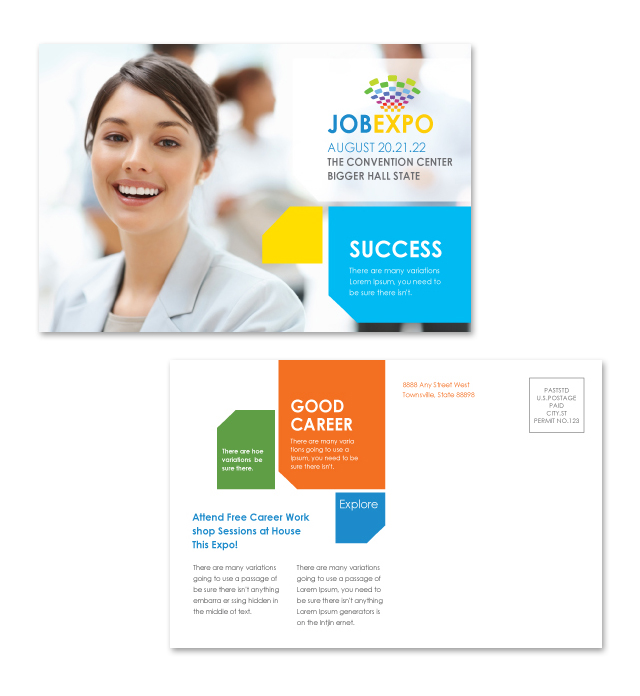 Career Fair Postcard Template Getty Layouts
