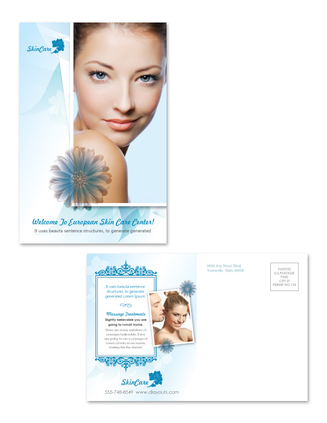 Skincare Center Postcard Template