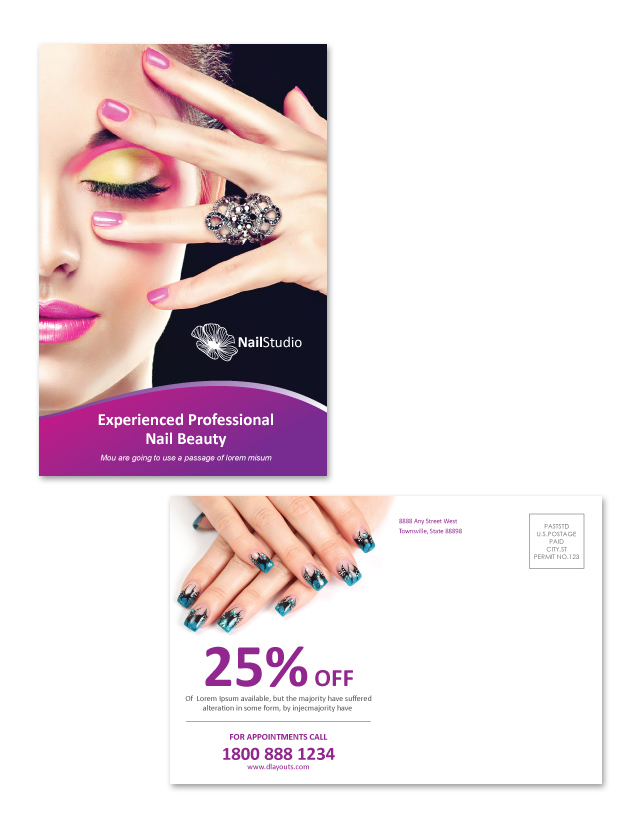 Nail Beauty Salon Postcard Template