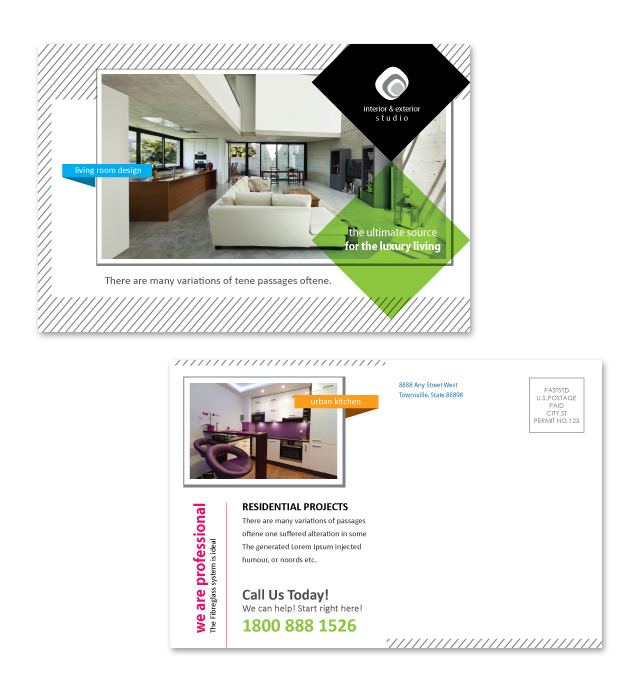 Interior & Exterior Studio Postcard Template