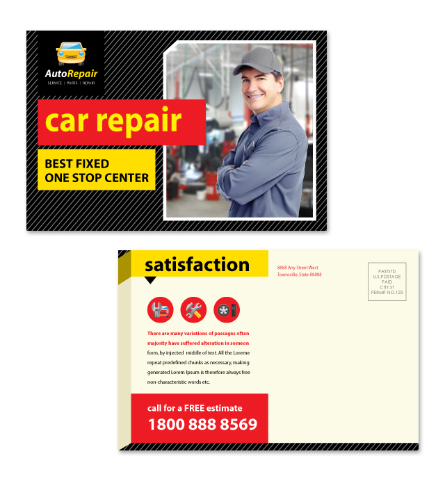 Auto Repair Services Postcard Template