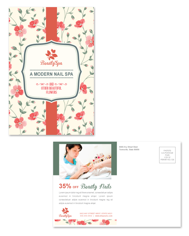 Nail Spa Center Postcard Template