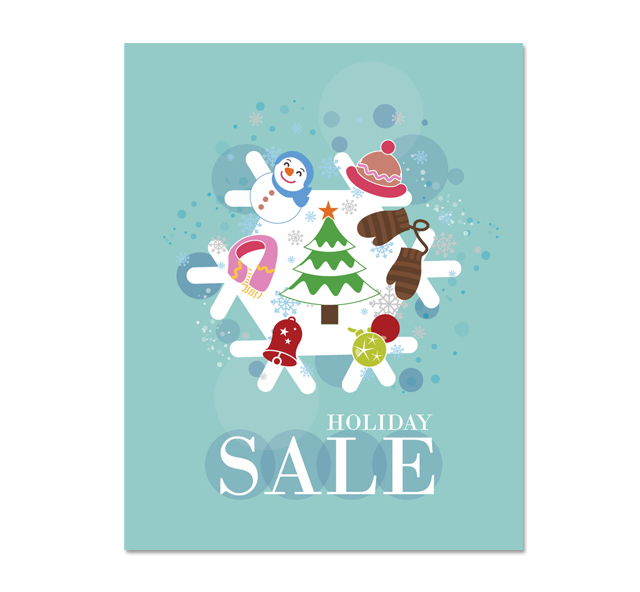 Christmas Flakes Sale Poster Template