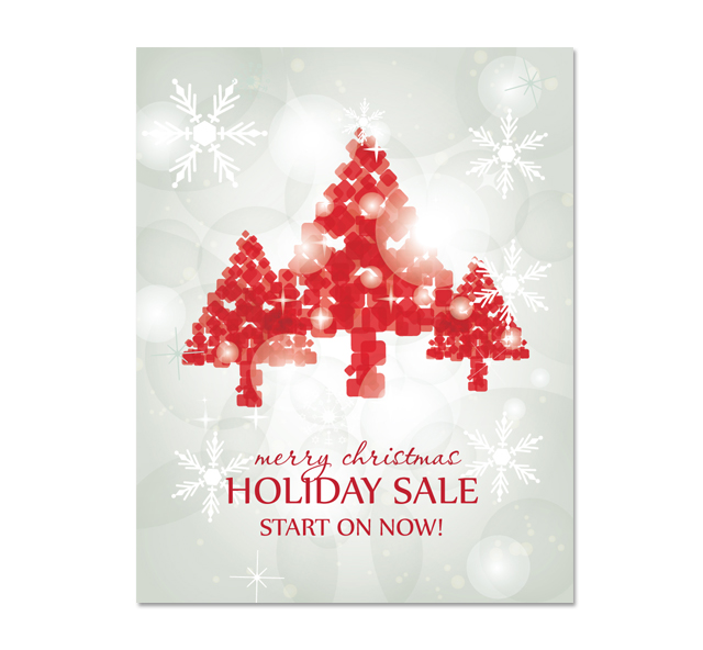 Red Christmas Tree Sale Poster Template