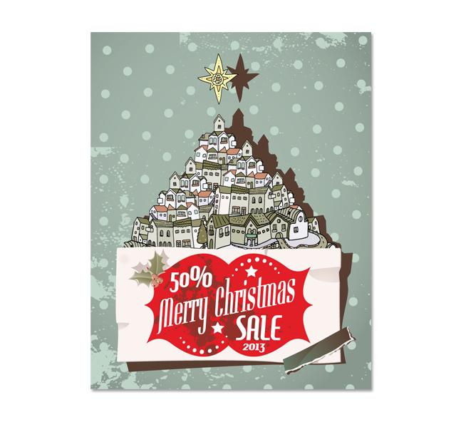 Retro Christmas Sale Poster Template