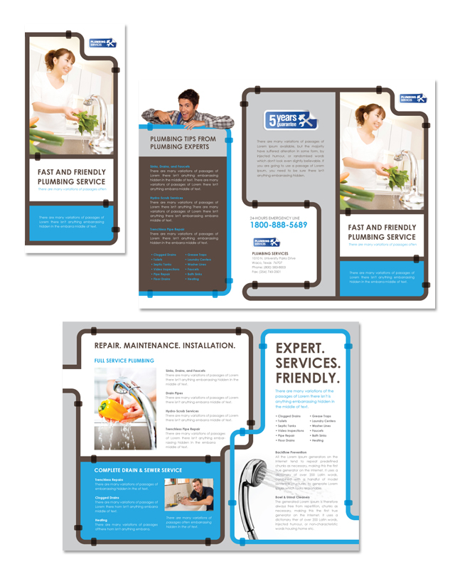 Plumbing Services Tri Fold Brochure Template  Getty Layouts