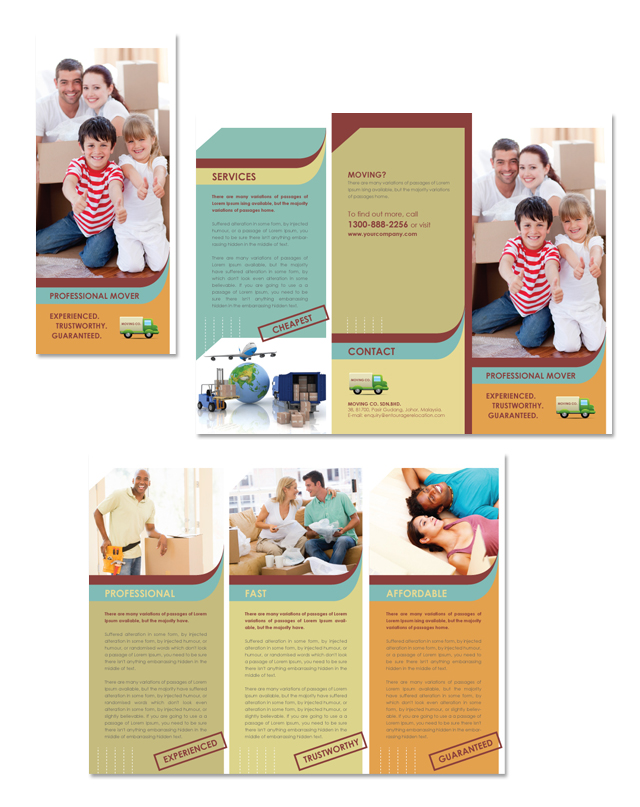 Movers & Moving Company Tri Fold Brochure Template