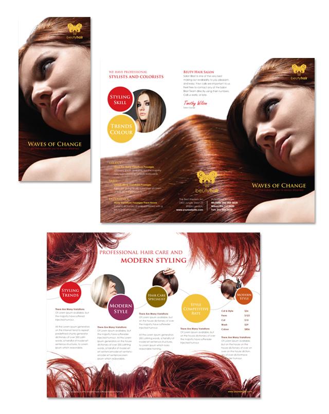 Hair Stylist & Salon Tri Fold Brochure Template
