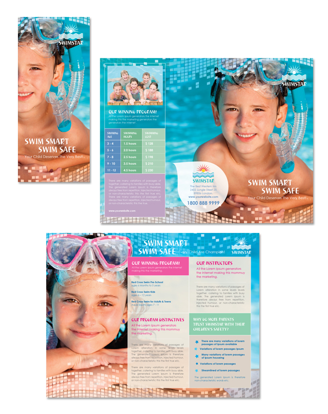 Swimming Lessons & Instruction Tri Fold Brochure Template