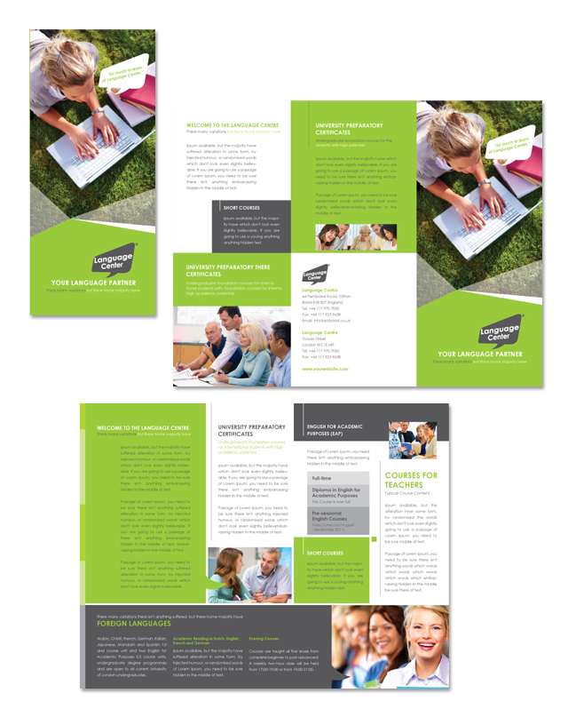 Language Centre Tri Fold Brochure Template