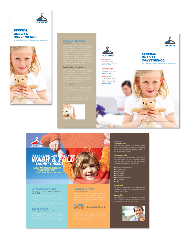 Laundry & Dry Cleaners Tri Fold Brochure Template