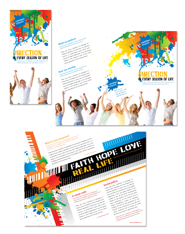 Christian Church & Youth Ministry Tri Fold Brochure Template