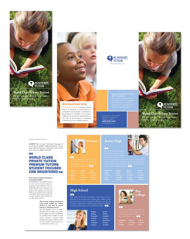 Academic Tutor & School Tri Fold Brochure Template