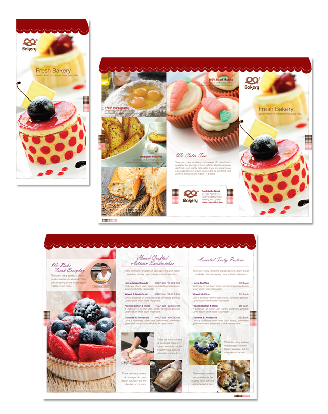 Artisan Decorative Bakery Tri Fold Brochure Template