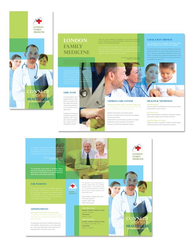 Family Medicine Clinic Tri Fold Brochure Template