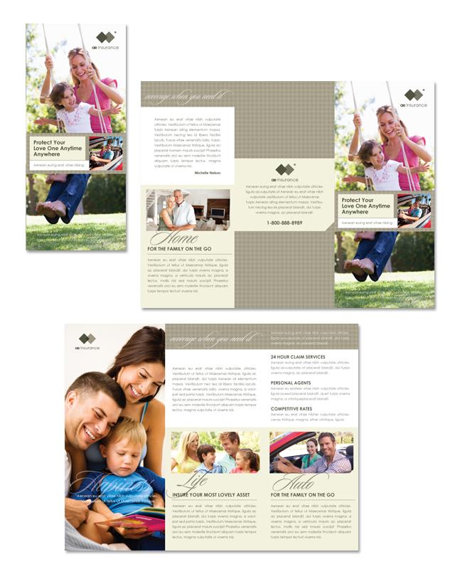 Life & Auto Insurance Company Tri Fold Brochure Template