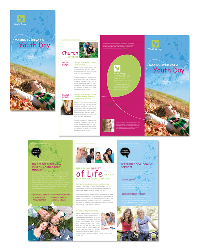 Church Ministry & Youth Group Tri Fold Brochure Template