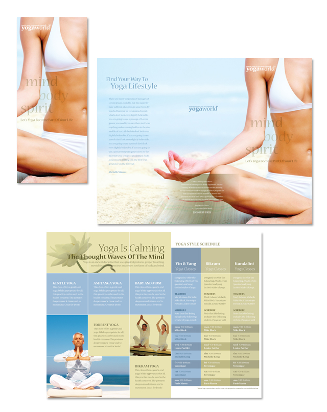 Yoga Fitness & Studio Tri Fold Brochure Template