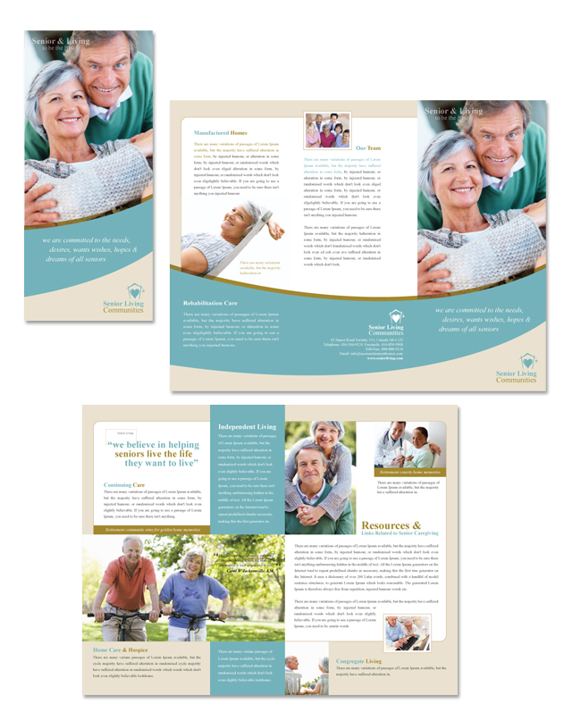 Senior Living Community  Tri Fold Brochure Template