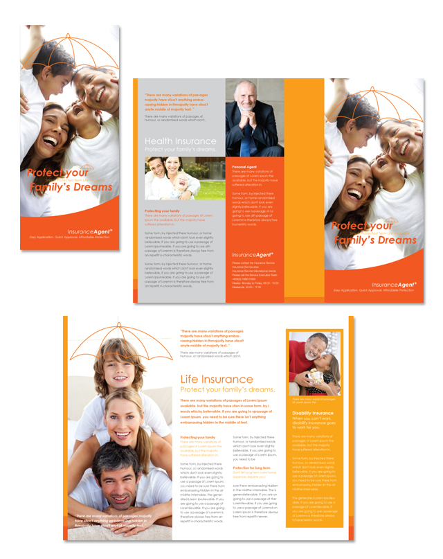 Insurance Agent Tri Fold Brochure Template