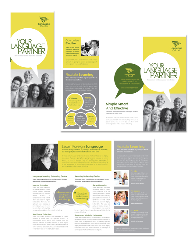 Language Learning Centre Tri Fold Brochure Template