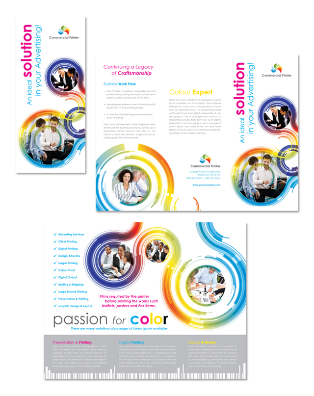Commercial Printer Tri Fold Brochure Template