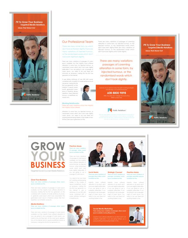 Public Relations Tri Fold Brochure Template