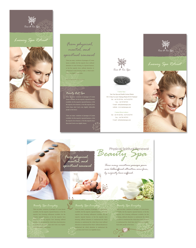 Spa Beauty Centre Tri Fold Brochure Template