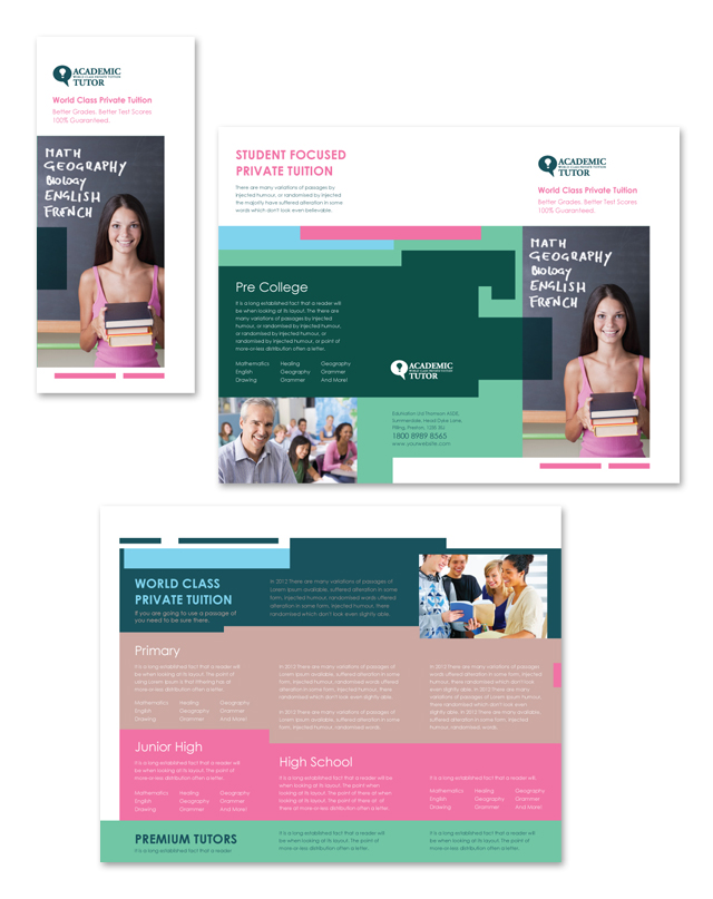 Tuition Class Tri Fold Brochure Template