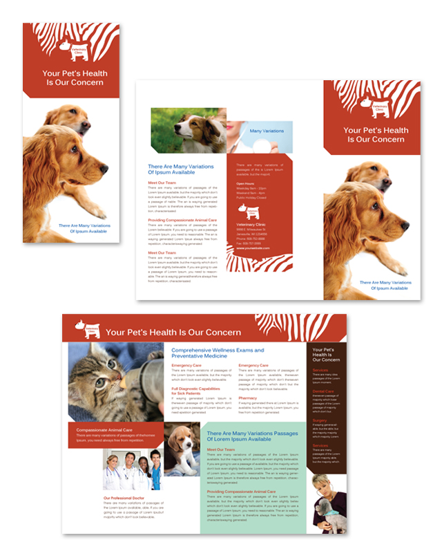Veterinary Clinic Tri Fold Brochure Template
