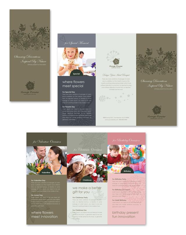 Gift & Florist Shop Tri Fold Brochure Template