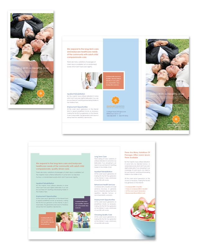 Health Services Center Tri Fold Brochure Template