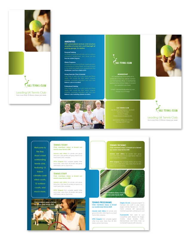 Tennis Club Tri Fold Brochure Template